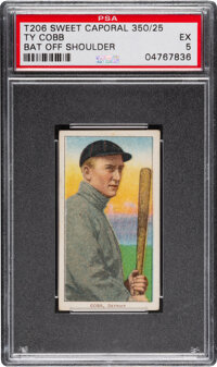 1909-11 T206 Sweet Caporal 350/25 Ty Cobb (Bat Off Shoulder) PSA EX 5 - Pop One, None Higher for Brand/Series/Factory. &...