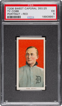 1909-11 T206 Sweet Caporal 350/25 Ty Cobb (Red Portrait) PSA EX 5 - Pop One, Only One Higher for Brand/Series/Factory. &...