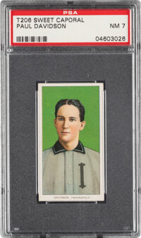 1909-11 T206 Sweet Caporal 350/30 Paul Davidson PSA NM 7 - Pop Two, Only Two Higher for Brand/Series/Factory