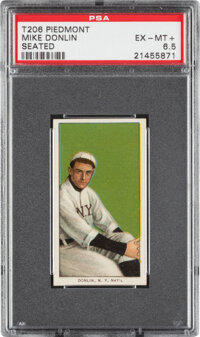 1909-11 T206 Piedmont 350 Mike Donlin (Seated) PSA EX-MT+ 6.5 - Pop Two, None Higher for Brand