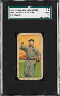 1909-11 T206 Broad Leaf 350 Wild Bill Donovan (Throwing) SGC 10 Poor 1 - The Only SGC-Graded Example