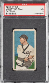 1909-11 T206 Cycle 460 Mickey Doolan (Batting) PSA VG 3 - Pop One, None Higher for Brand