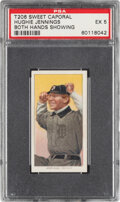 Baseball Cards:Singles (Pre-1930), 1909-11 T206 Sweet Caporal 350/30 Hughie Jennings (Both Hands Showing) PSA EX 5. ...