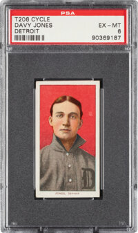 1909-11 T206 Cycle 350 Davy Jones (Detroit) PSA EX-MT 6 - Pop Two, None Higher for Brand