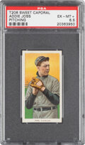 Baseball Cards:Singles (Pre-1930), 1909-11 T206 Sweet Caporal 350/25 Addie Joss (Pitching) PSA EX-MT+ 6.5 - Pop One, None Higher for Brand/Series/Factory! ...