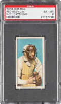 Baseball Cards:Singles (Pre-1930), 1909-11 T206 Old Mill Red Kleinow (New York, Catching) PSA EX-MT 6 - Pop Two, None Higher for Brand. ...