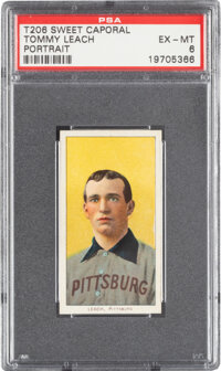 1909-11 T206 Sweet Caporal 350/30 Tommy Leach (Portrait) PSA EX-MT 6 - Pop One, None Higher for Brand/Series!