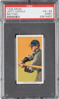1909-11 T206 Drum Lefty Leifield (Batting) PSA VG-EX 4 (MC) - The Finest of Only Four PSA-Graded Examples