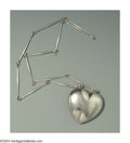 Silver Smalls:Other , A DANISH SILVER PUFFED HEART NECKLACE