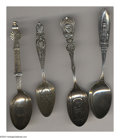 Silver Souvenir Spoons:Other , A GROUP OF FOUR SILVER SOUVENIR SPOONS