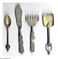 Silver Souvenir Spoons:Other , A GROUP OF FOUR SILVER SOUVENIR SERVING PIECES