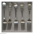 Silver Souvenir Spoons:Other , A GROUP OF FIVE SILVER SOUVENIR FORKS