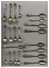 A GROUP OF ONE HUNDRED TEN SILVER STATE SOUVENIR SPOONS Various makers, c.1900  Includes thirty-three Massachusetts, twe...