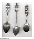 Silver Souvenir Spoons:Figural, A GROUP OF THREE SILVER FIGURAL SPOONS