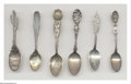 Silver Souvenir Spoons:Figural, A GROUP OF SIX SILVER FIGURAL SOUVENIR SPOONS