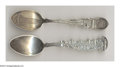 Silver Souvenir Spoons:Skyline, TWO SILVER NEW YORK SKYLINE SOUVENIR SPOONS