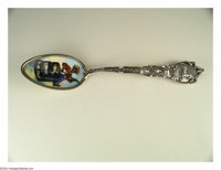 A SILVER AND ENAMEL BLACK AMERICANA SOUVENIR SPOON Mark of Shepard, Melrose Highlands, Massachusetts, c.1900  Multi-colo...