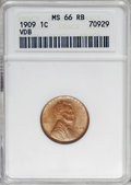 Lincoln Cents: , 1909 VDB 1C MS66 Red and Brown ANACS. NGC Census: (140/16). PCGS Population (44/1). Mintage: 27,995,000. Numismedia Wsl. Pr...