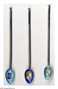 Silver Souvenir Spoons:Enameled, THREE SILVER AND ENAMEL SOUVENIR ICED TEA SPOONS