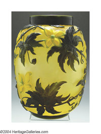 A 'CLEMATIS' MOLD-BLOWN, OVERLAID AND ETCHED GLASS VASE Emile Gallé, c.1910  The frosted amber ground overlaid, o...