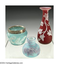 Glass, THREE OVERLAID AND ETCHED GLASS CABINET VASES. Thomas Webb and Sons, c.1900. Comprising a shallow bowl with silver rim, th... (Total: 3 Item)