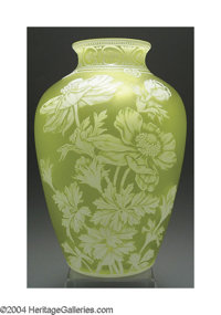 AN OVERLAID AND ETCHED GLASS VASE Thomas Webb & Sons, c.1900  The yellow ground overlaid in ivory and finely etched...