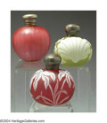 Art Glass:Webb, TWO OVERLAID, ETCHED AND SILVER-MOUNTED GLASS PERFUME ... (3 )