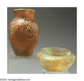 Art Glass:Daum, TWO ETCHED AND ENAMELED GLASS VASES