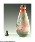 Art Glass:Other , TWO OVERLAID AND ETCHED GLASS VASES