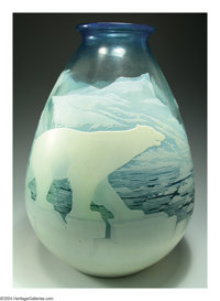 A FINE 'POLAR BEAR' OVERLAID AND ETCHED GLASS VASE Emile Gallé, c.1900  The icy blue shading to wintergreen groun...