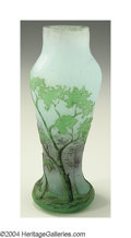 Art Glass:Daum, AN ETCHED AND ENAMELED GLASS VASE