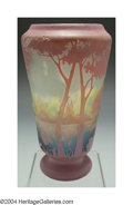 Art Glass:Daum, AN OVERLAID AND ETCHED GLASS VASE