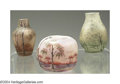 Art Glass:Daum, THREE ETCHED AND ENAMELED GLASS VASES