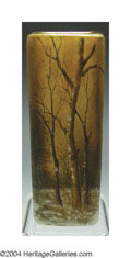 Art Glass:Daum, AN ETCHED AND ENAMELED CABINET GLASS VASE
