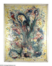 LLOYD RAYMOND NEY (1893-1964) Impasto Abstract, 1957 Oil and mixed media on masonite 60in. x 38in. Signed and dated lowe...
