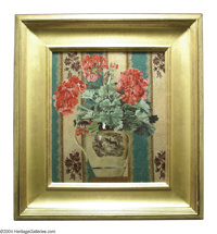 FELICIE WALDO HOWELL (Hawaiian/American 1897-1968) Scarlet Geraniums No 1, 1921 Oil on canvas 14.1in. x 12in. Signed and...