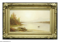 HENRY A. FERGUSON (American 1842-1911) Sunset On Lake George, c.1860 Oil on canvas 10.1in. x 18.1in. Signed indistinctly...