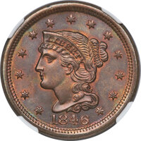 1846 1C Small Date, N-5, R.2, MS67 Brown NGC....(PCGS# 403865)