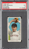 Baseball Cards:Singles (Pre-1930), 1909-11 T206 Uzit Rube Manning (Pitching) PSA VG 3 - Only Three PSA-Graded Examples. ...