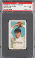 Baseball Cards:Singles (Pre-1930), 1909-11 T206 El Principe De Gales Rube Manning (Pitching) PSA VG-EX+ 4.5 - Pop Two, None Higher for Brand. ...