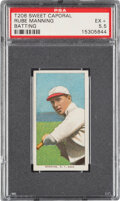 Baseball Cards:Singles (Pre-1930), 1909-11 T206 Sweet Caporal 350/25 Rube Manning (Batting) PSA EX+ 5.5 - Pop One, None Higher for Brand/Series/Factory. ...
