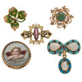 Estate Jewelry:Brooches - Pins, Diamond, Multi-Stone, Enamel, Gold, Silver, Yellow Metal Brooches. ... (Total: 5 Items)