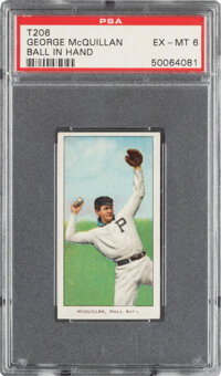 1909-11 T206 Sweet Caporal 150/25 George McQuillan (Ball In Hand) PSA EX-MT 6 - Pop One, None Higher for Brand/Series/Fa...