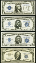 Small Size:Silver Certificates, $1, $5, and $10 Silver Certificates Four Examples.. ... (Total: 4 notes)