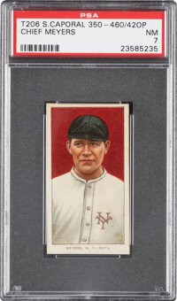 1909-11 T206 Sweet Caporal 350-460/42OP Chief Meyers (Portrait) PSA NM 7 - Pop One, None Higher with Overprint