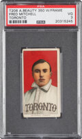 Baseball Cards:Singles (Pre-1930), 1909-11 T206 American Beauty 350-with Frame Fred Mitchell PSA VG 3 - Pop One, One Higher for Brand/Series. ...
