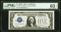 Small Size:Silver Certificates, Fancy Serial Number 55554433 Fr. 1601 $1 1928A Silver Certificate. PMG Choice Uncirculated 63 EPQ.. ...