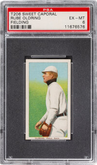 1909-11 T206 Sweet Caporal 350/25 Rube Oldring (Fielding) PSA EX-MT 6 - Pop One, Only One Higher for Brand/Series/Factor...