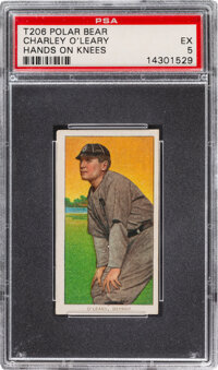 1909-11 T206 Polar Bear Charley O'Leary (Hands On Knees) PSA EX 5 - Pop Two, Only One Higher for Brand