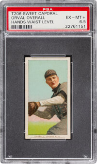 1909-11 T206 Sweet Caporal 350-460/42OP Orval Overall (Hands Waist Level) PSA EX-MT+ 6.5 - Pop One, None Higher with Ove...